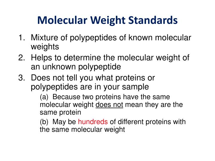 Mixture of polypeptides of known molecular weights