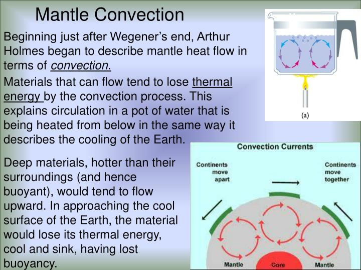 Beginning just after Wegener's end, Arthur Holmes began to describe mantle heat flow in terms of