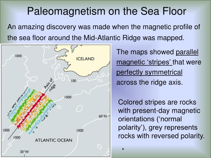 An amazing discovery was made when the magnetic profile of the sea floor around the Mid-Atlantic Ridge was mapped.