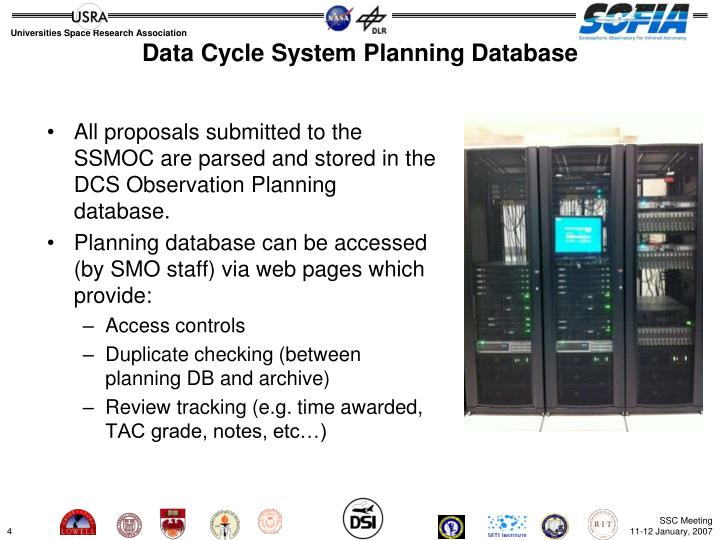 Data Cycle System Planning Database