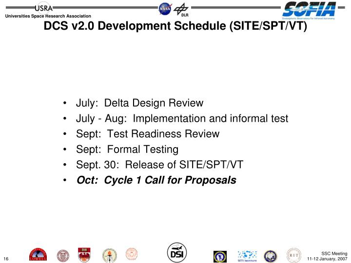 DCS v2.0 Development Schedule