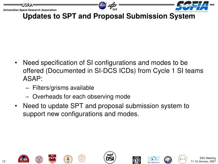 Updates to SPT and Proposal Submission System