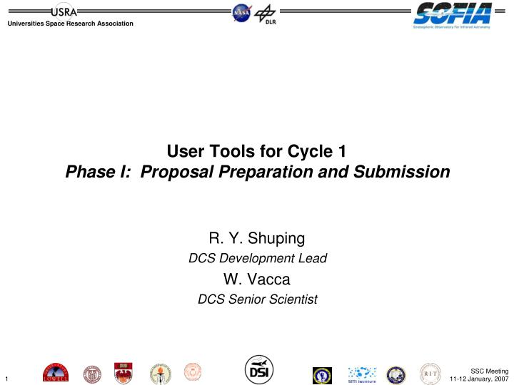 User tools for cycle 1 phase i proposal preparation and submission
