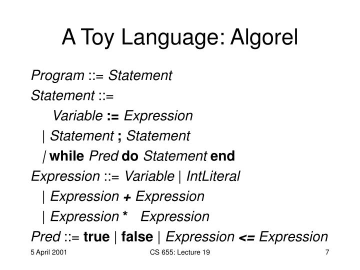 A Toy Language: Algorel