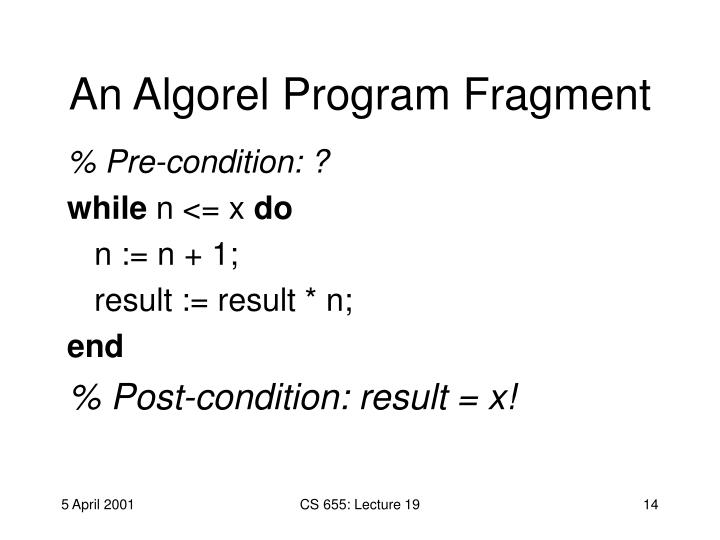 An Algorel Program Fragment