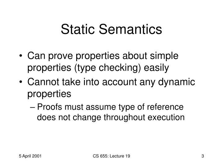 Static Semantics