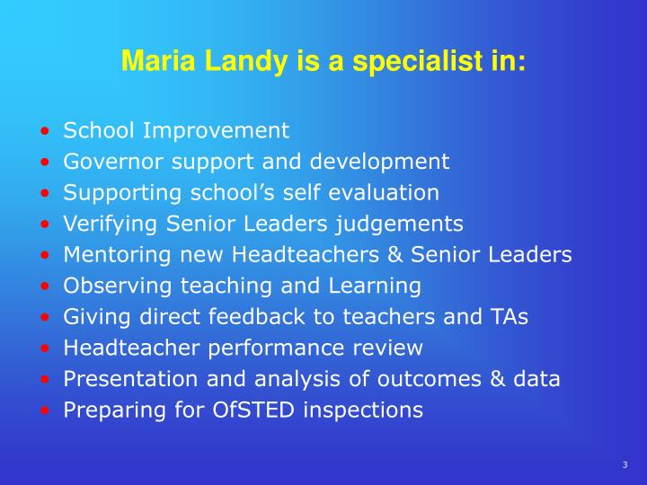 Maria landy is a specialist in