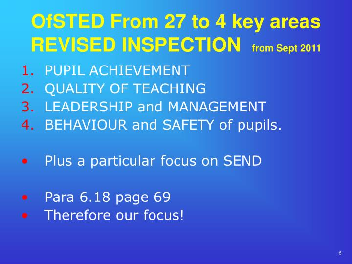OfSTED From 27 to 4 key areas REVISED INSPECTION