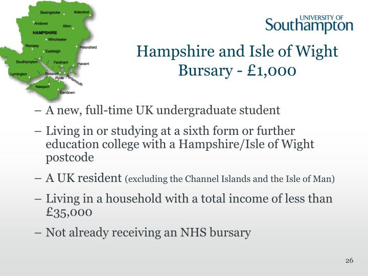 Hampshire and Isle of Wight Bursary - £1,000