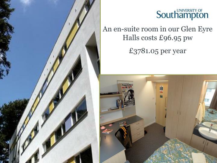 An en-suite room in our Glen Eyre Halls costs £96.95 pw