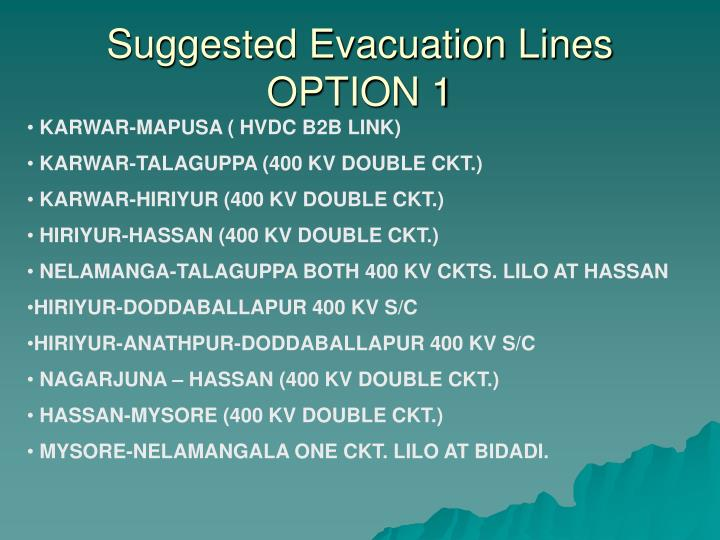 Suggested Evacuation Lines