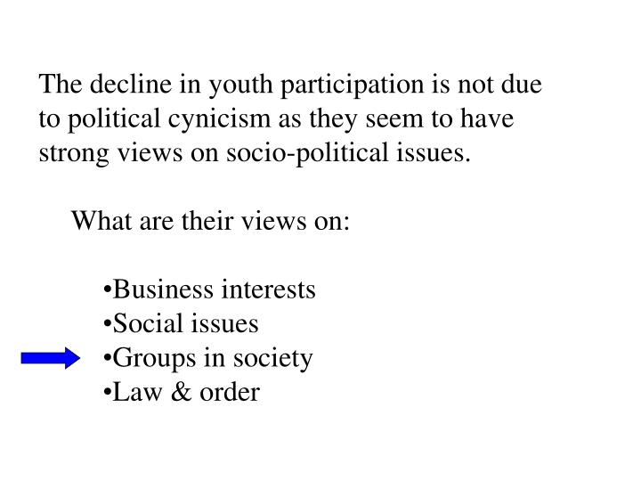 The decline in youth participation is not due to political cynicism as they seem to have strong views on socio-political issues.