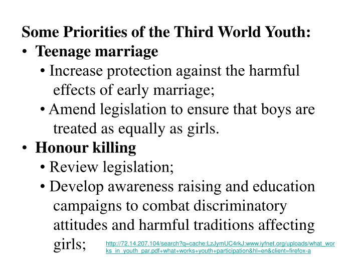 Some Priorities of the Third World Youth: