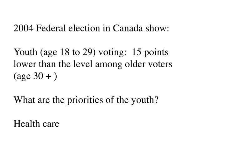 2004 Federal election in Canada show: