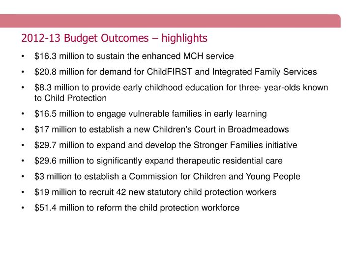 2012-13 Budget Outcomes – highlights