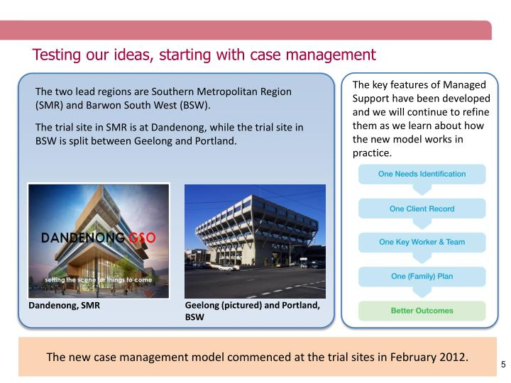 Testing our ideas, starting with case management