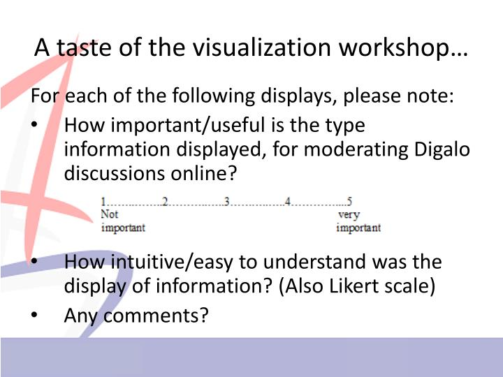 A taste of the visualization workshop…
