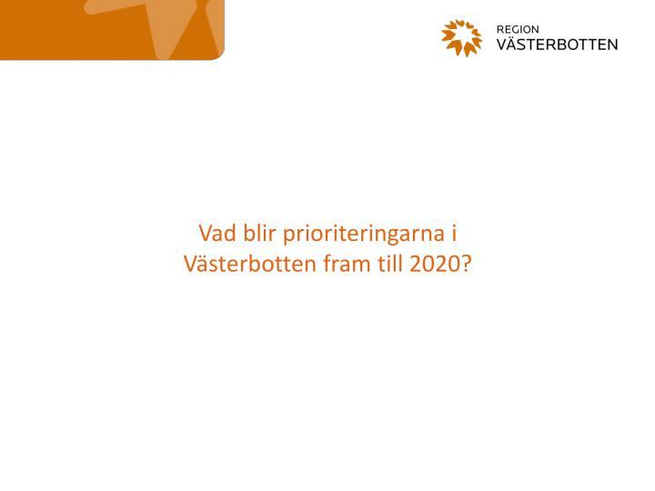 Vad blir prioriteringarna i Västerbotten fram till 2020?