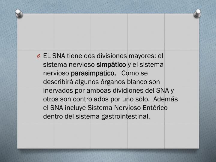 EL SNA tiene dos divisiones mayores: el sistema nervioso