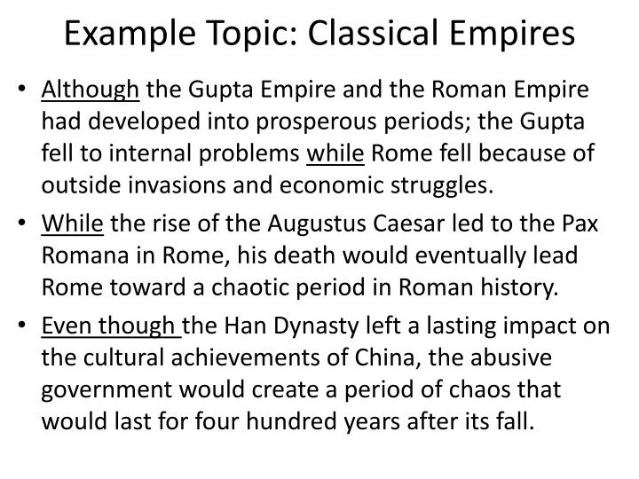 Example Topic: Classical Empires