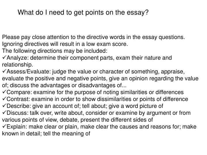 What do I need to get points on the essay?