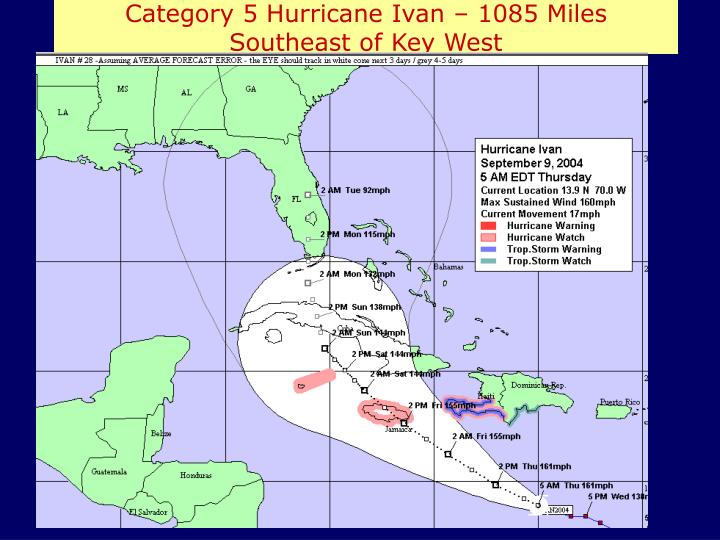 Category 5 Hurricane Ivan – 1085 Miles Southeast of Key West