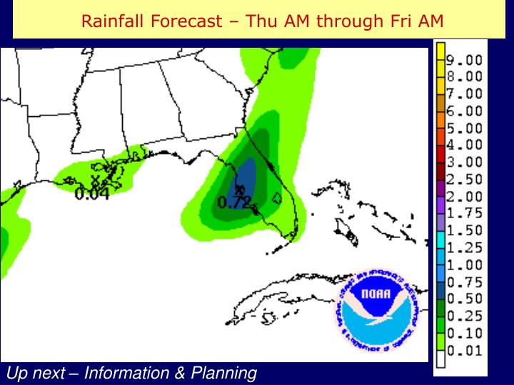 Rainfall Forecast – Thu AM through Fri AM