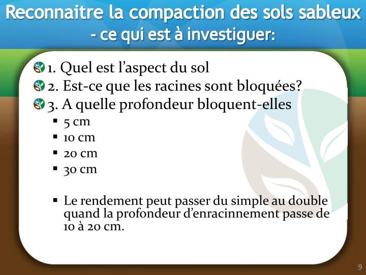 Reconnaitre la compaction des sols