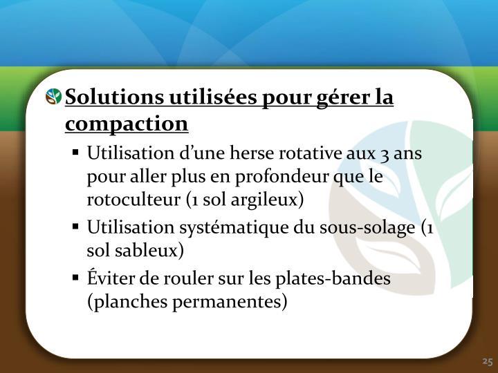 Solutions utilisées pour gérer la compaction