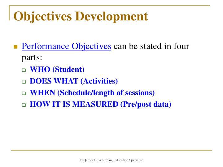 Objectives Development