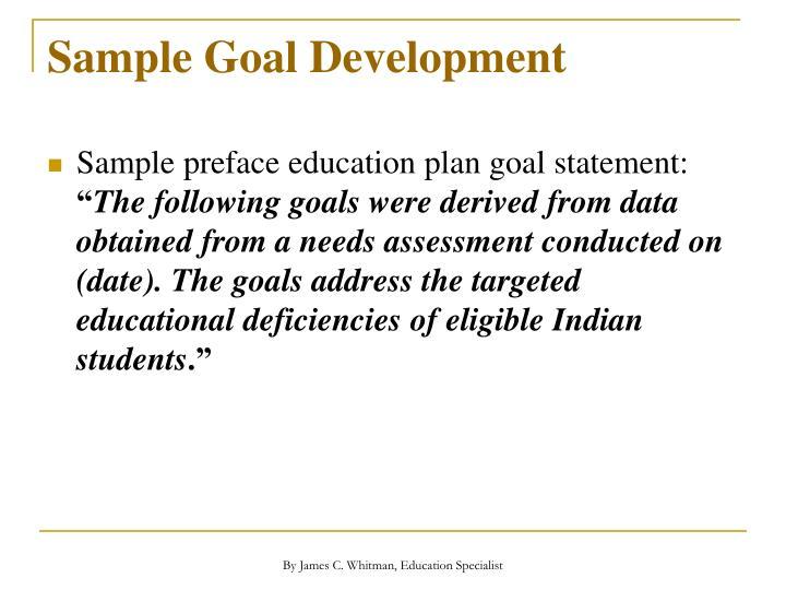 Sample Goal Development