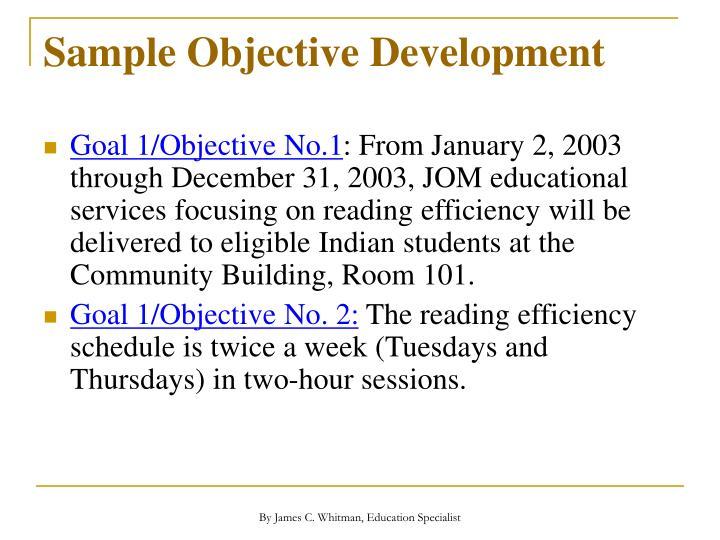 Sample Objective Development