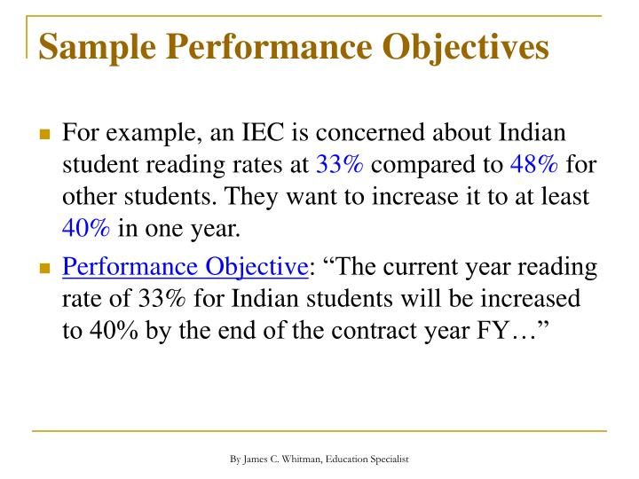 Sample Performance Objectives