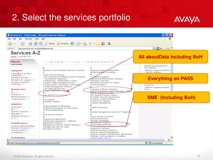 2. Select the services portfolio