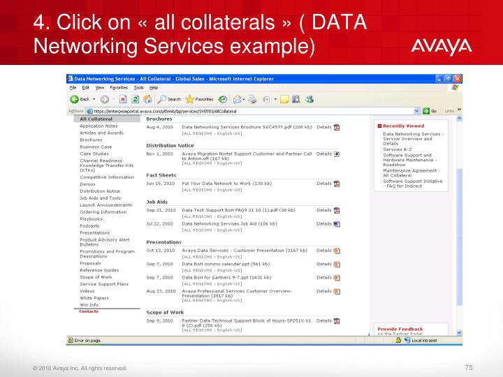 4. Click on « all collaterals » ( DATA Networking Services example)