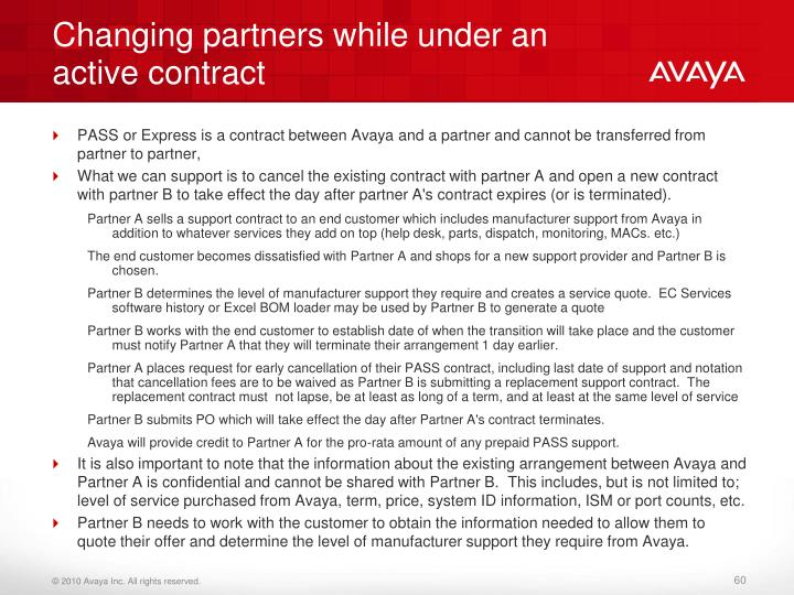 Changing partners while under an active contract