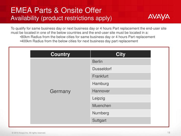 EMEA Parts & Onsite Offer