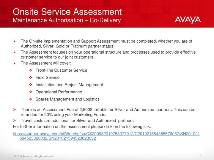 Onsite Service Assessment