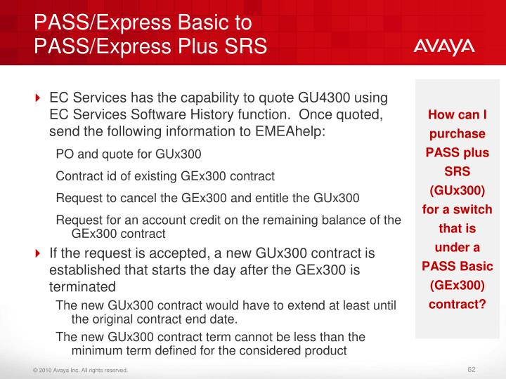 PASS/Express Basic to PASS/Express Plus SRS