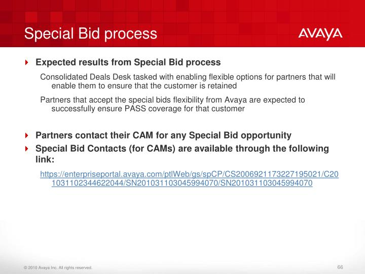 Special Bid process