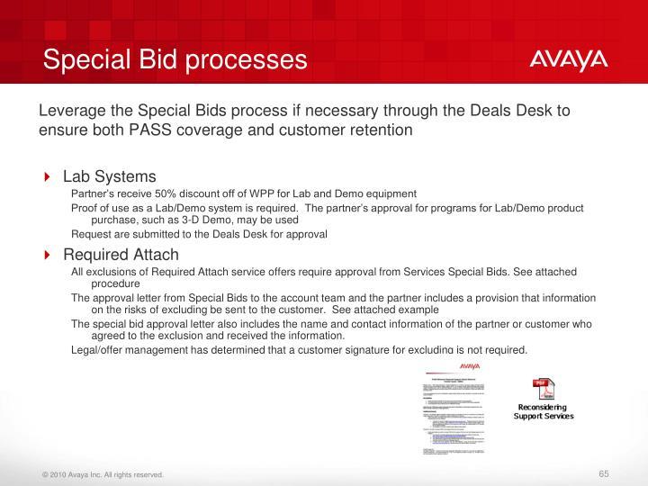 Special Bid processes