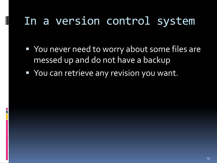 In a version control system