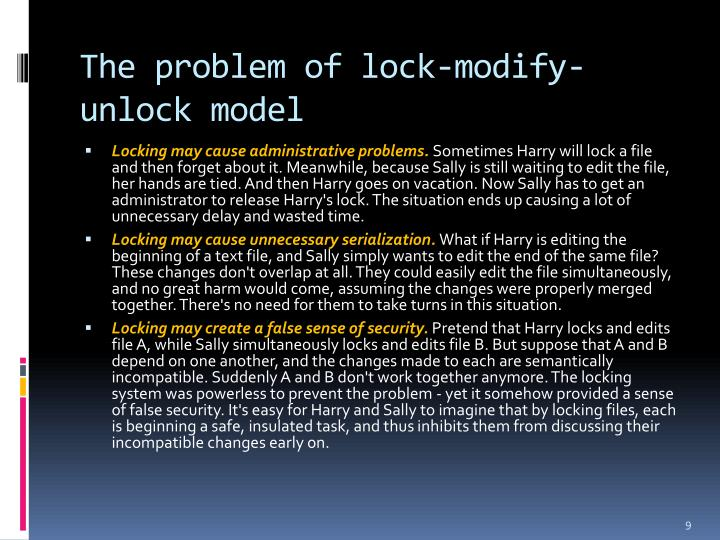The problem of lock-modify-unlock model