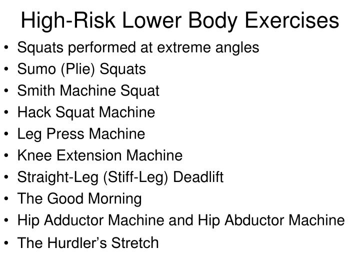 High-Risk Lower Body Exercises