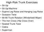 high risk trunk exercises