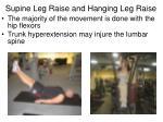 supine leg raise and hanging leg raise