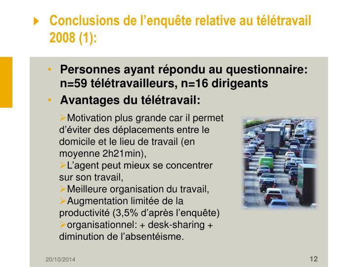 Conclusions de l'enquête relative au télétravail  2008 (1):