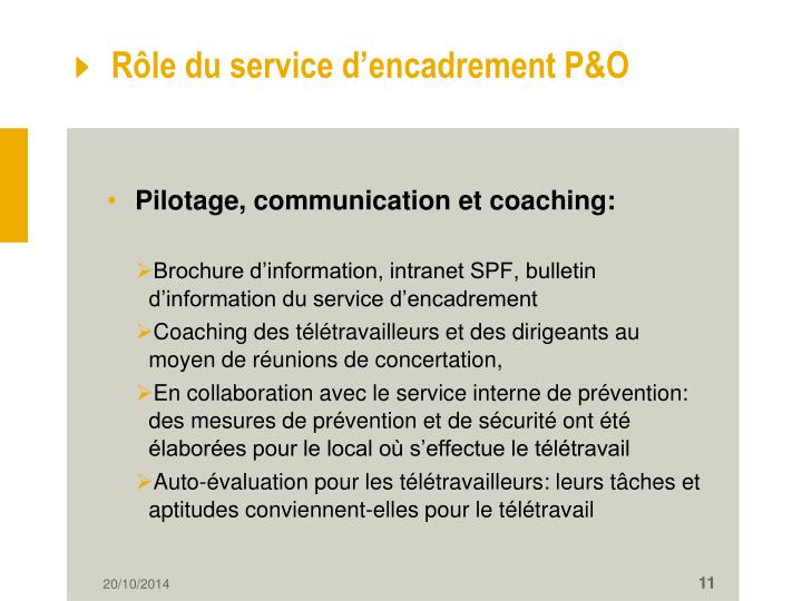 Rôle du service d'encadrement P&O