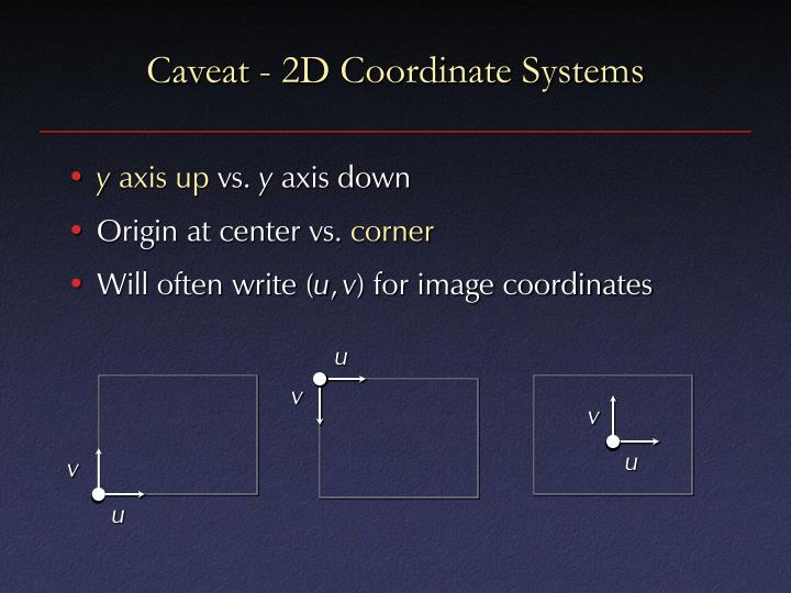 Caveat - 2D Coordinate Systems
