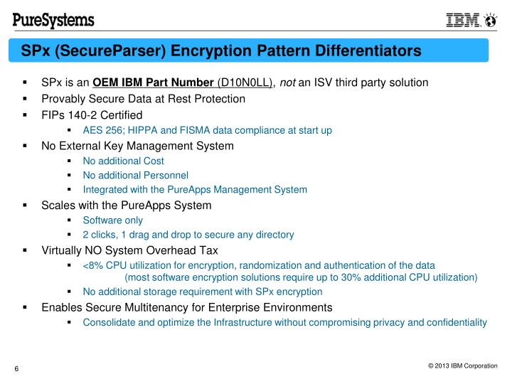 SPx (SecureParser) Encryption Pattern Differentiators